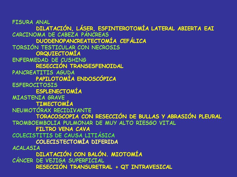 FISURA ANAL DILATACIÓN, LÁSER, ESFINTEROTOMÍA LATERAL ABIERTA EAI. CARCINOMA DE CABEZA PÁNCREAS. DUODENOPANCREATECTOMÍA CEFÁLICA.