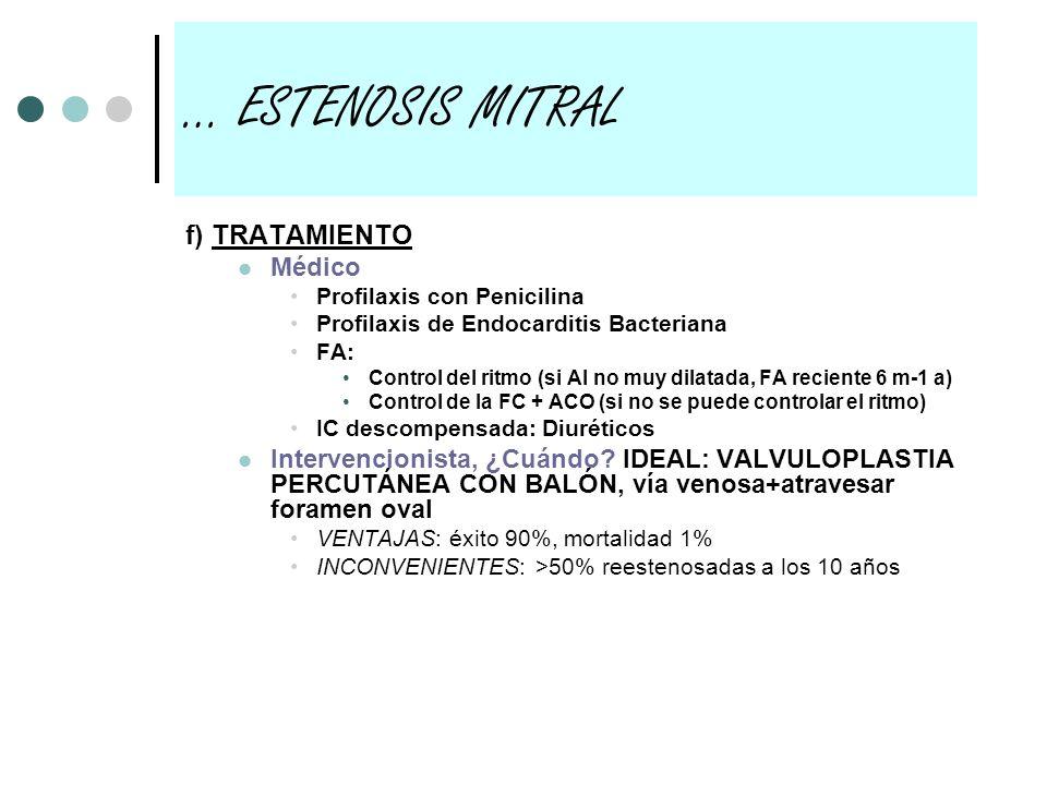 … ESTENOSIS MITRAL f) TRATAMIENTO Médico