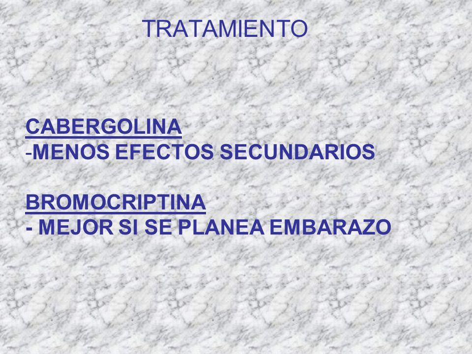 TRATAMIENTO CABERGOLINA MENOS EFECTOS SECUNDARIOS BROMOCRIPTINA