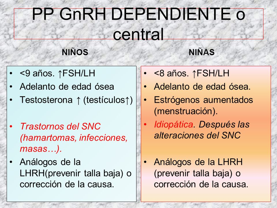 PP GnRH DEPENDIENTE o central