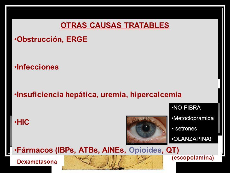 NÁUSEAS Y VÓMITOS OTRAS CAUSAS TRATABLES Obstrucción, ERGE Infecciones