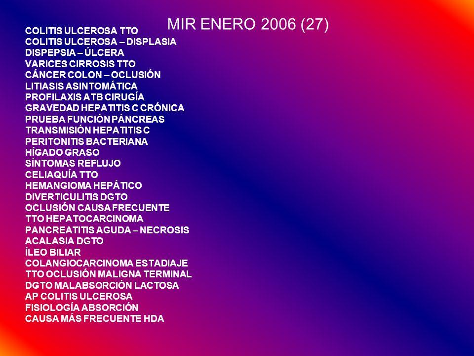 MIR ENERO 2006 (27) COLITIS ULCEROSA TTO COLITIS ULCEROSA – DISPLASIA