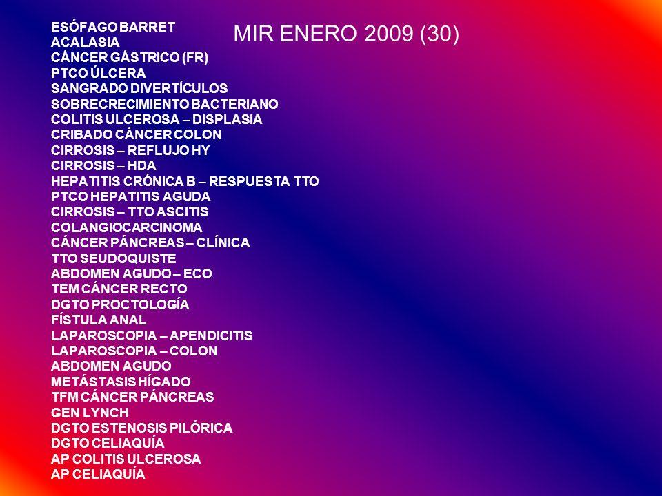 MIR ENERO 2009 (30) ESÓFAGO BARRET ACALASIA CÁNCER GÁSTRICO (FR)