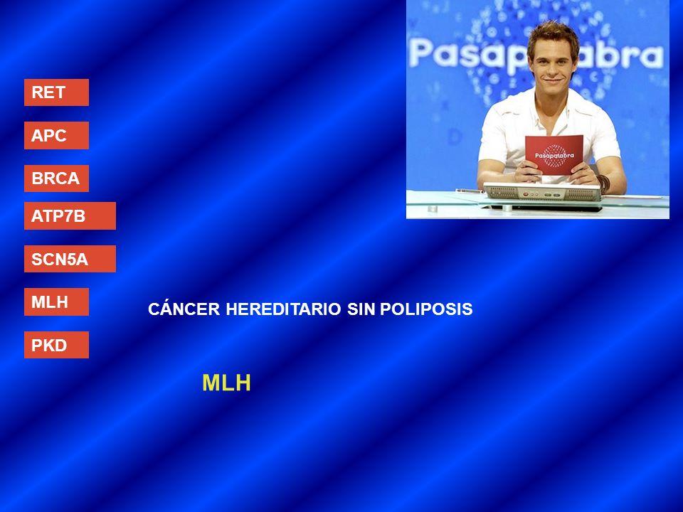 RET APC BRCA ATP7B SCN5A MLH CÁNCER HEREDITARIO SIN POLIPOSIS PKD MLH