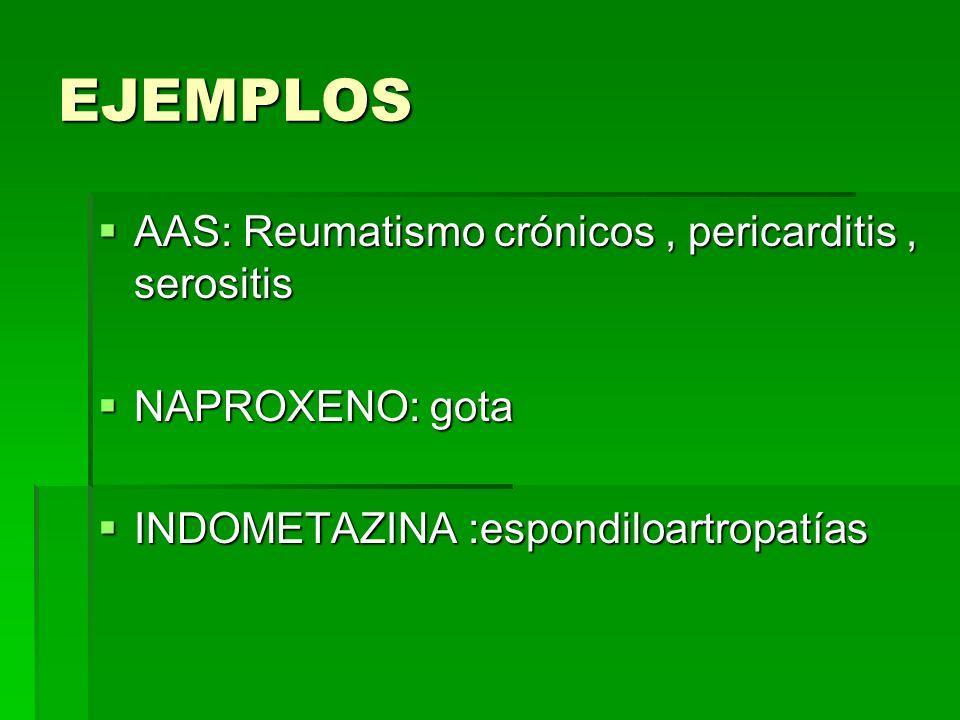 EJEMPLOS AAS: Reumatismo crónicos , pericarditis , serositis