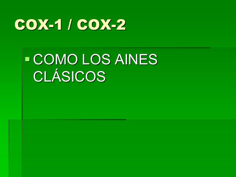 COX-1 / COX-2 COMO LOS AINES CLÁSICOS