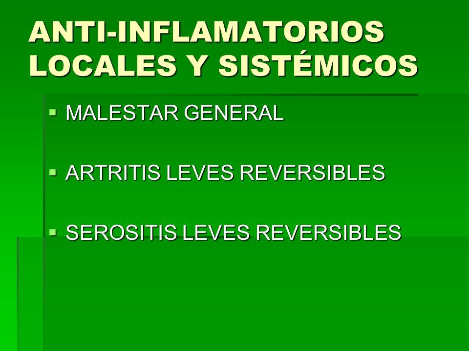 ANTI-INFLAMATORIOS LOCALES Y SISTÉMICOS