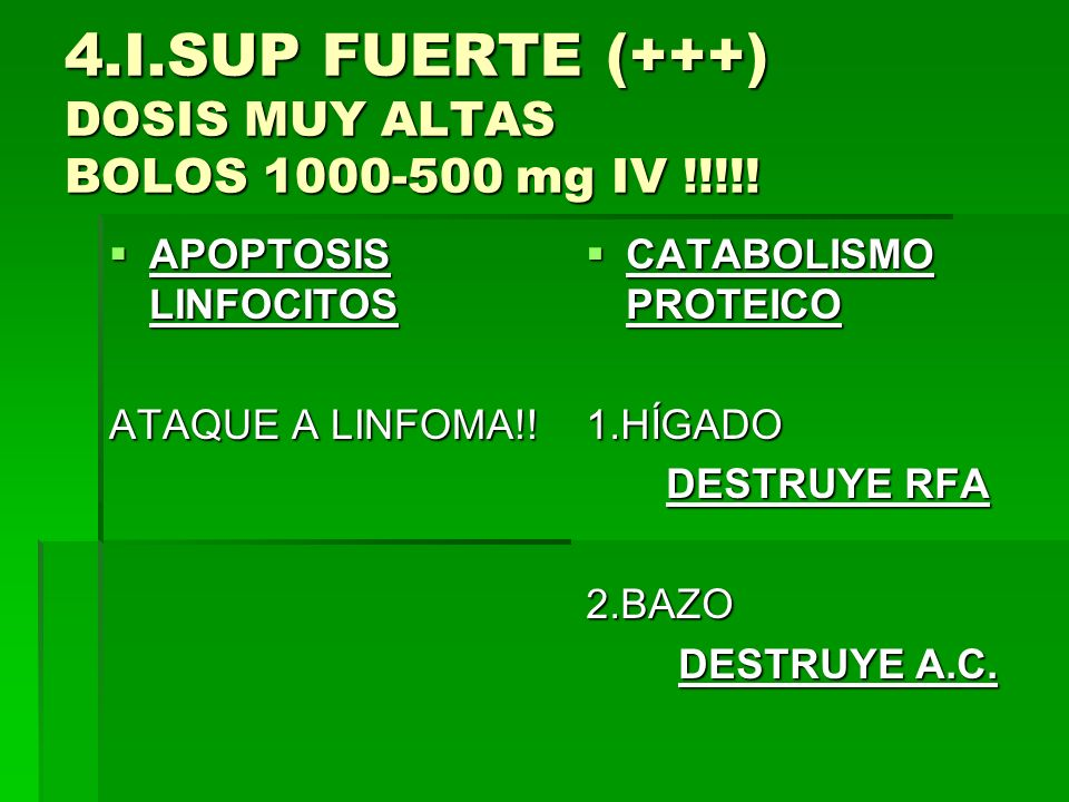 4.I.SUP FUERTE (+++) DOSIS MUY ALTAS BOLOS 1000-500 mg IV !!!!!