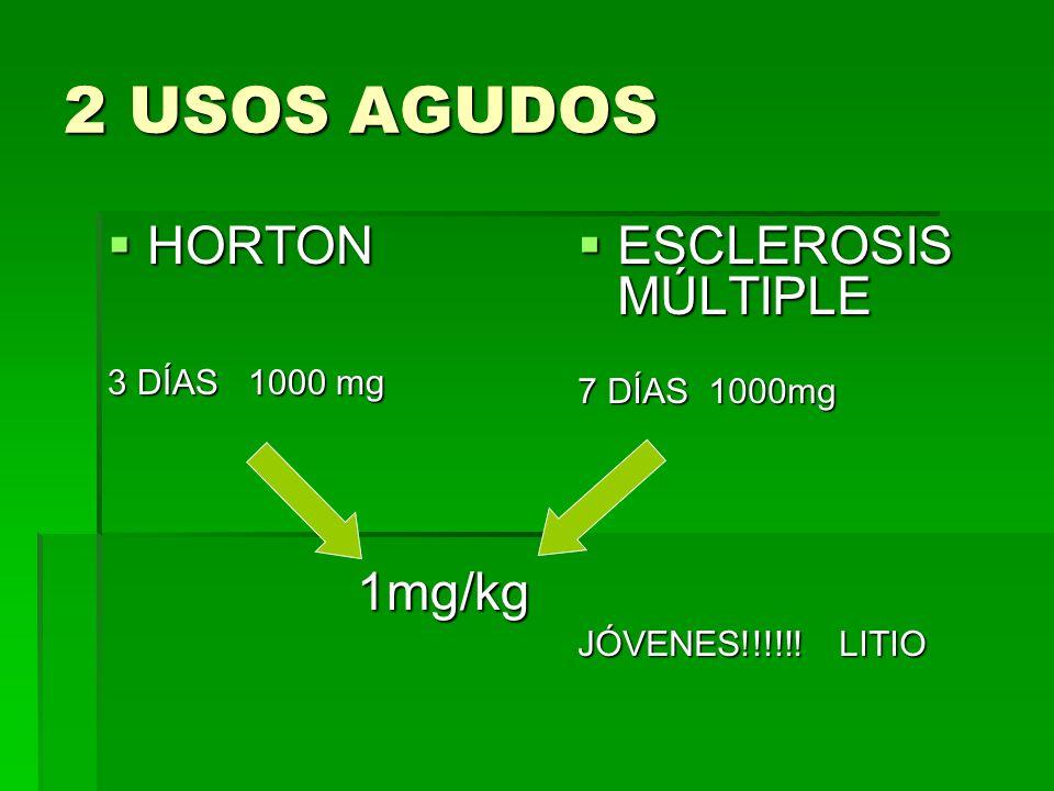 2 USOS AGUDOS HORTON ESCLEROSIS MÚLTIPLE 3 DÍAS 1000 mg 7 DÍAS 1000mg