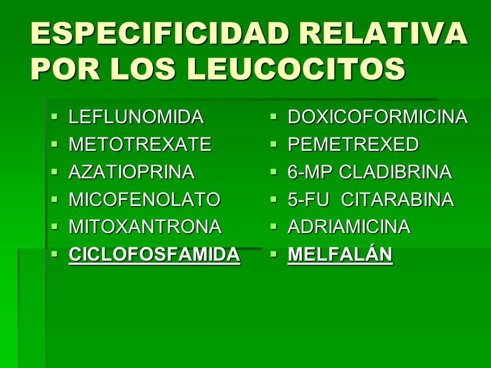 ESPECIFICIDAD RELATIVA POR LOS LEUCOCITOS