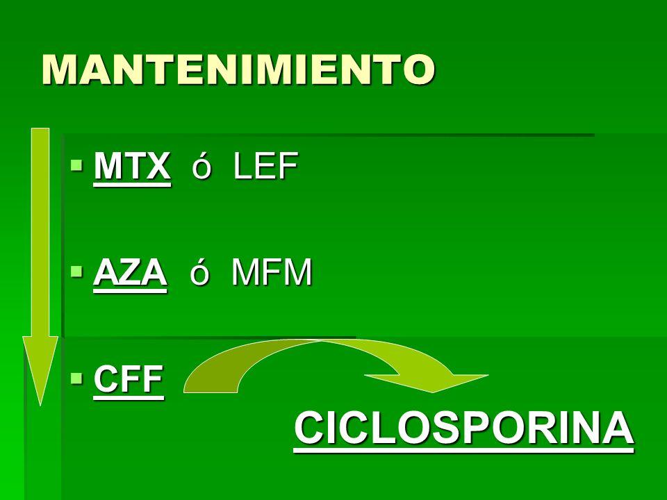 MANTENIMIENTO MTX ó LEF AZA ó MFM CFF CICLOSPORINA