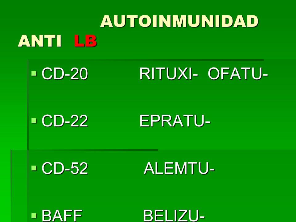 AUTOINMUNIDAD ANTI LB CD-20 RITUXI- OFATU- CD-22 EPRATU- CD-52 ALEMTU-