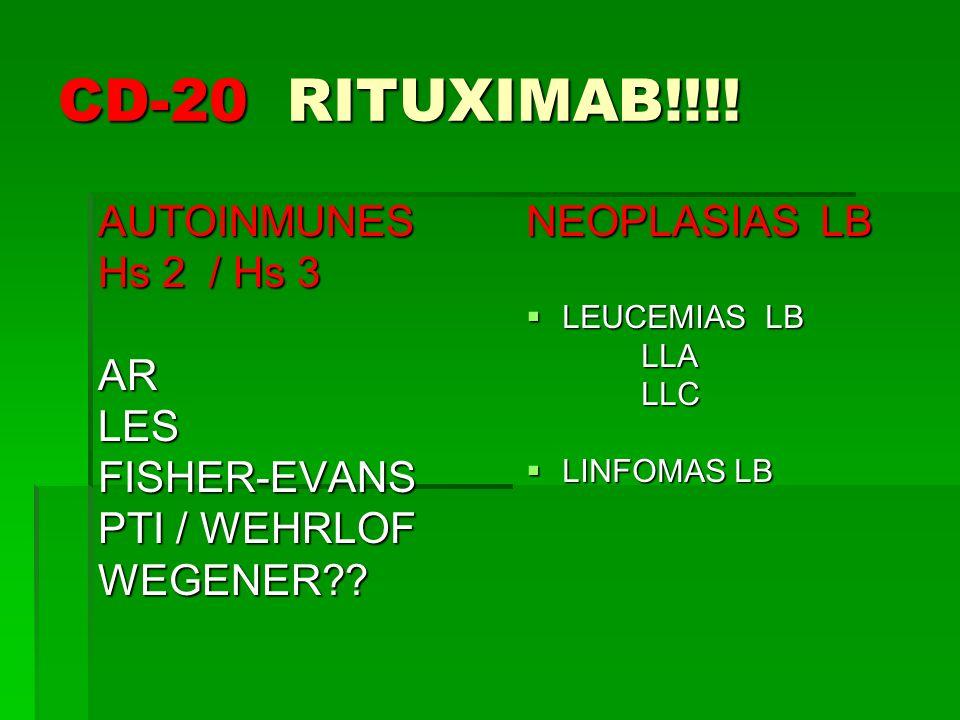 CD-20 RITUXIMAB!!!! AUTOINMUNES Hs 2 / Hs 3 AR LES FISHER-EVANS