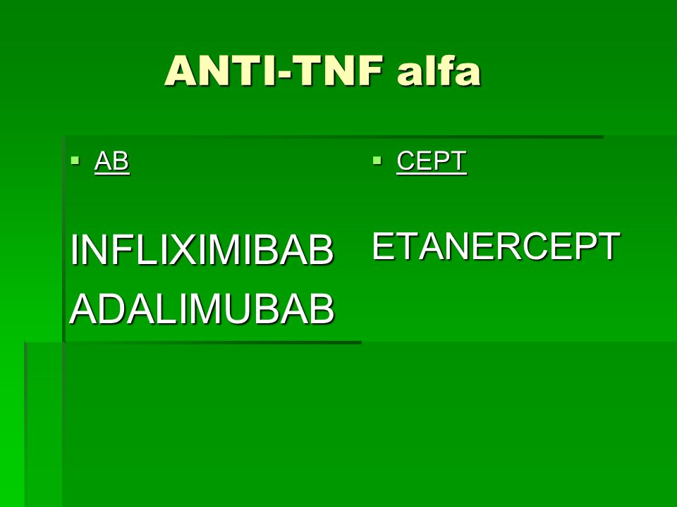 ANTI-TNF alfa AB INFLIXIMIBAB ADALIMUBAB CEPT ETANERCEPT