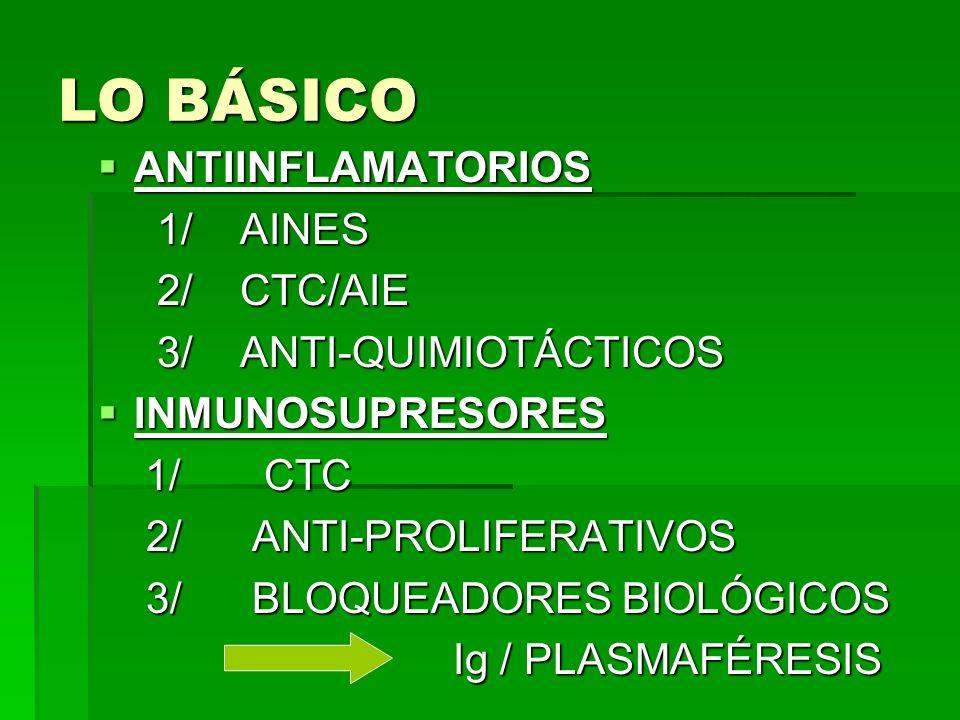 LO BÁSICO ANTIINFLAMATORIOS 1/ AINES 2/ CTC/AIE 3/ ANTI-QUIMIOTÁCTICOS