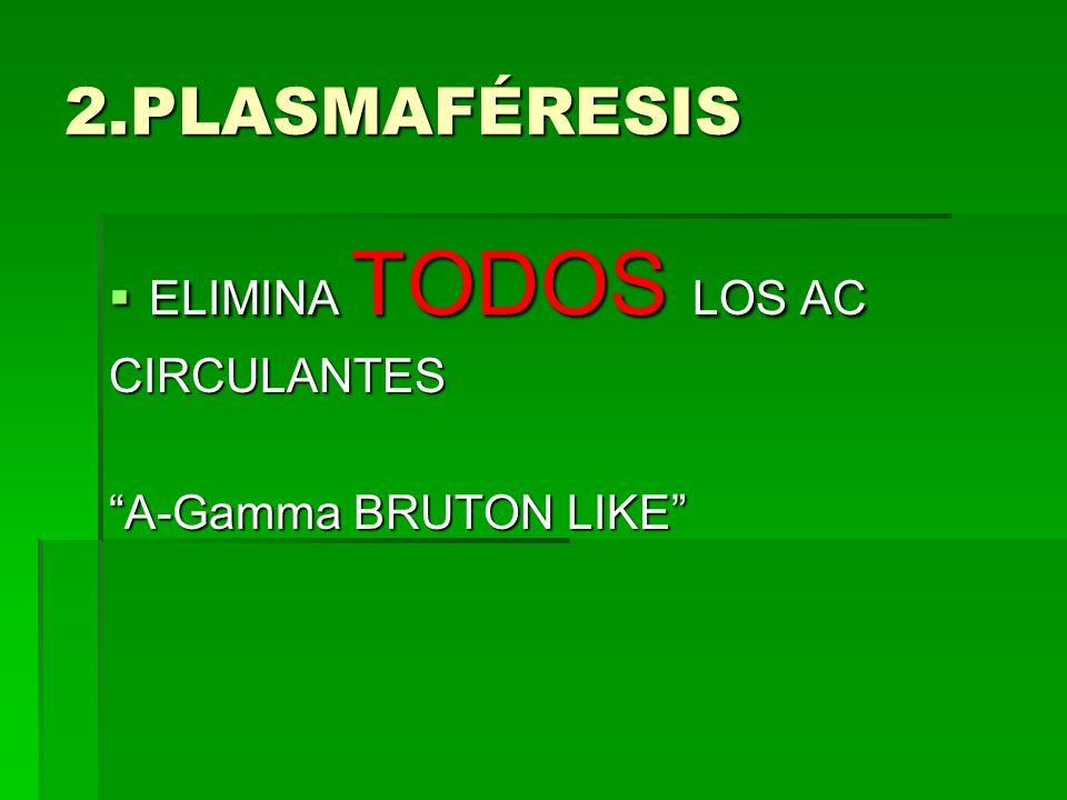 2.PLASMAFÉRESIS ELIMINA TODOS LOS AC CIRCULANTES A-Gamma BRUTON LIKE
