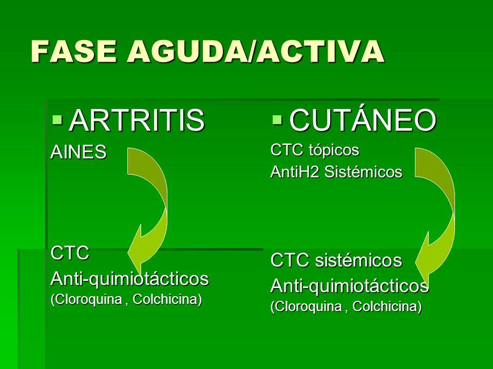FASE AGUDA/ACTIVA ARTRITIS CUTÁNEO AINES CTC CTC sistémicos