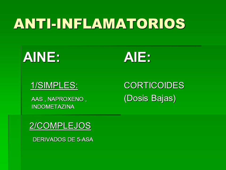 ANTI-INFLAMATORIOS AINE: AIE: 1/SIMPLES:
