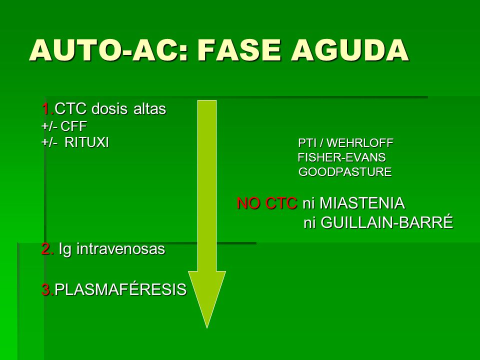 AUTO-AC: FASE AGUDA 1.CTC dosis altas ni GUILLAIN-BARRÉ