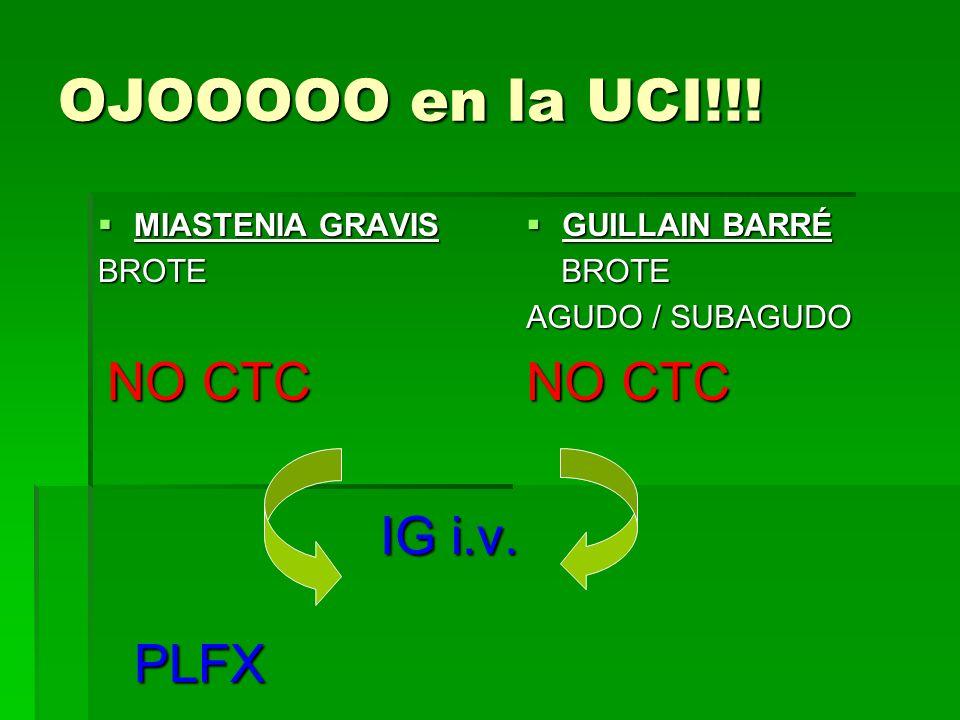 OJOOOOO en la UCI!!! NO CTC IG i.v. PLFX MIASTENIA GRAVIS BROTE NO CTC