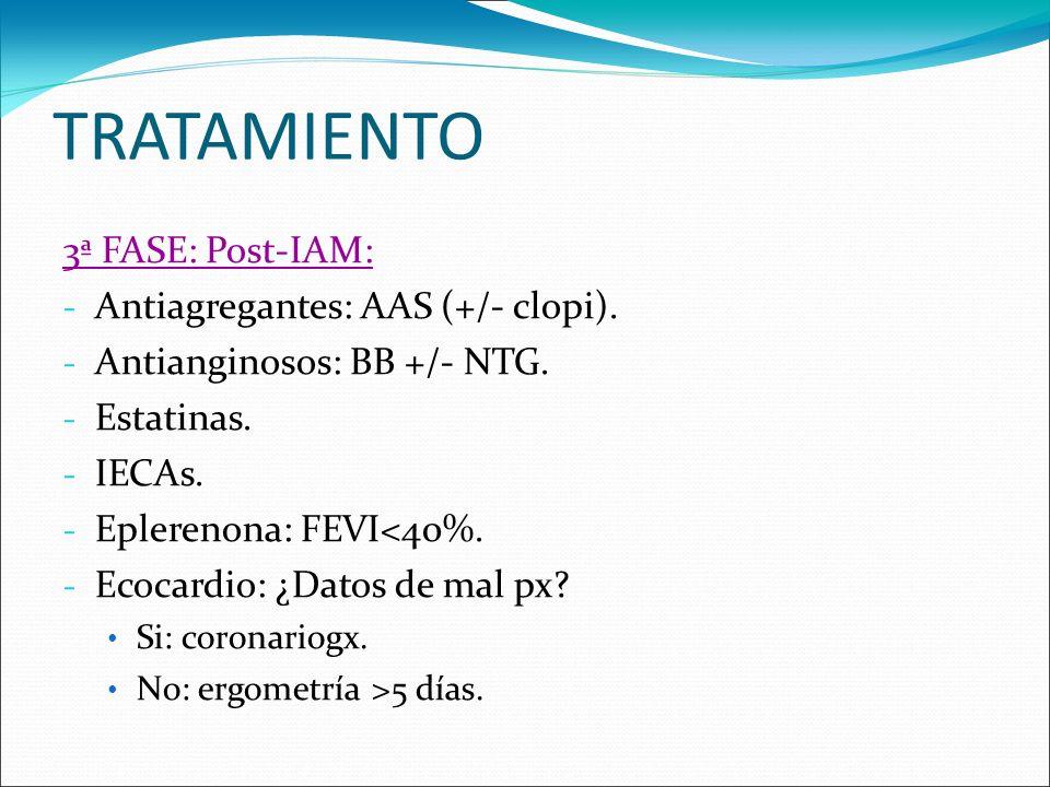 TRATAMIENTO 3ª FASE: Post-IAM: Antiagregantes: AAS (+/- clopi).