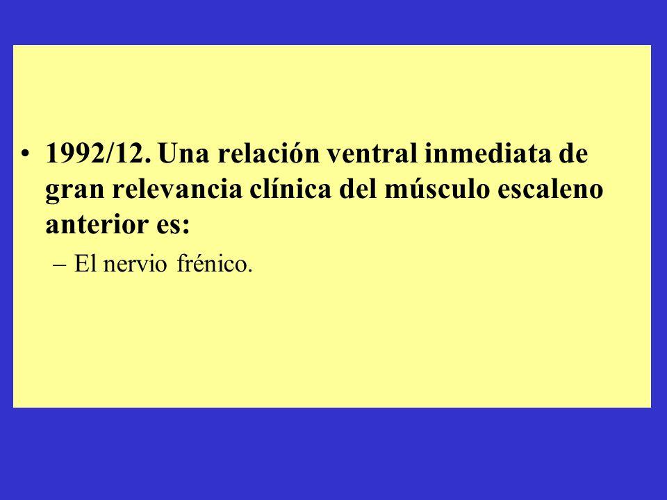 1992/12. Una relación ventral inmediata de gran relevancia clínica del músculo escaleno anterior es: