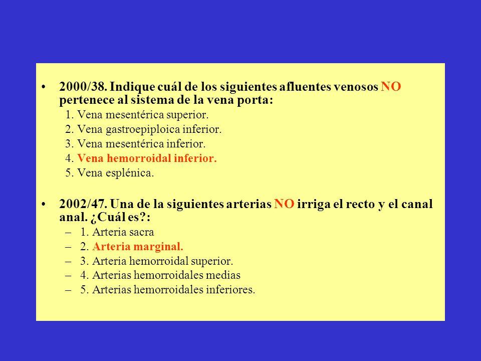 2000/38. Indique cuál de los siguientes afluentes venosos NO pertenece al sistema de la vena porta: