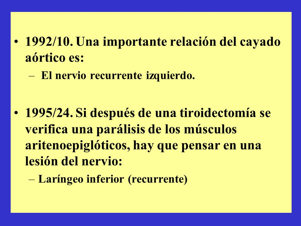 1992/10. Una importante relación del cayado aórtico es: