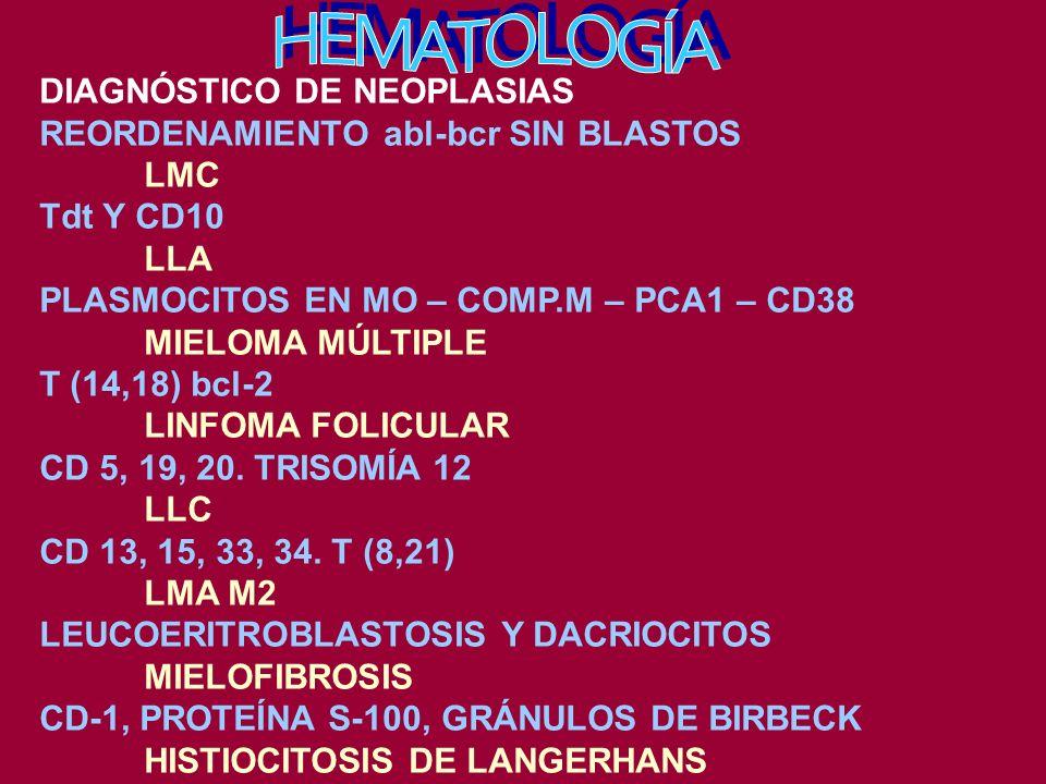 HEMATOLOGÍA DIAGNÓSTICO DE NEOPLASIAS