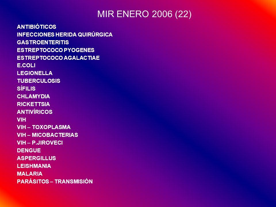 MIR ENERO 2006 (22) ANTIBIÓTICOS INFECCIONES HERIDA QUIRÚRGICA
