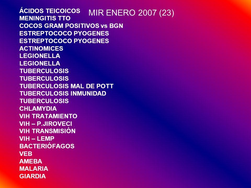MIR ENERO 2007 (23) ÁCIDOS TEICOICOS MENINGITIS TTO