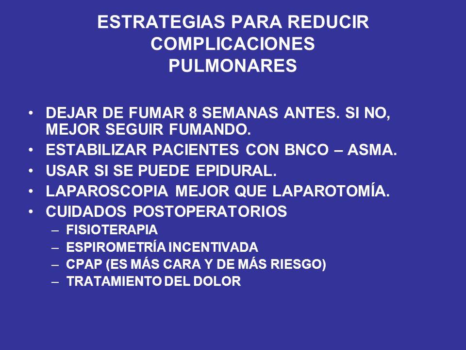 ESTRATEGIAS PARA REDUCIR COMPLICACIONES PULMONARES