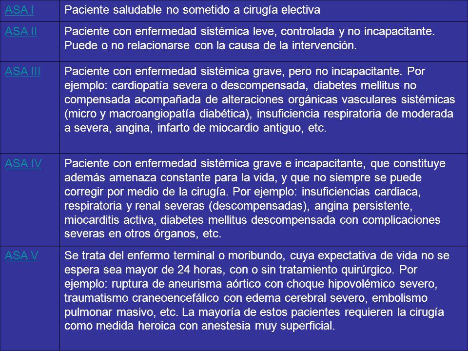 ASA I Paciente saludable no sometido a cirugía electiva. ASA II.