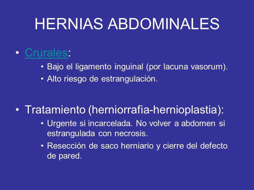 HERNIAS ABDOMINALES Crurales: