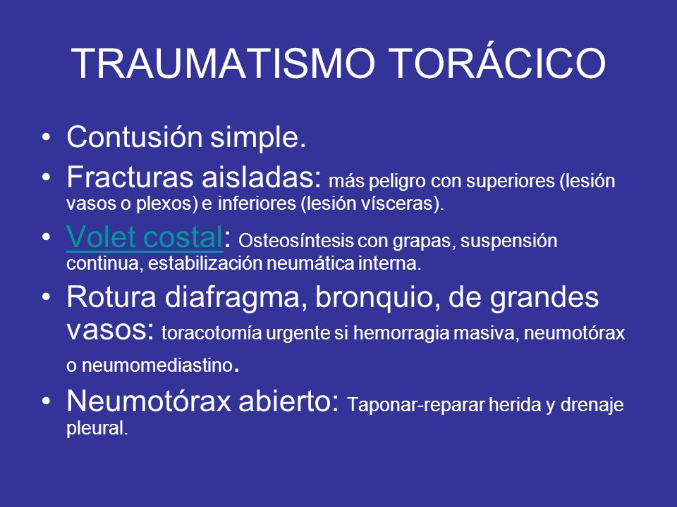 TRAUMATISMO TORÁCICO Contusión simple.
