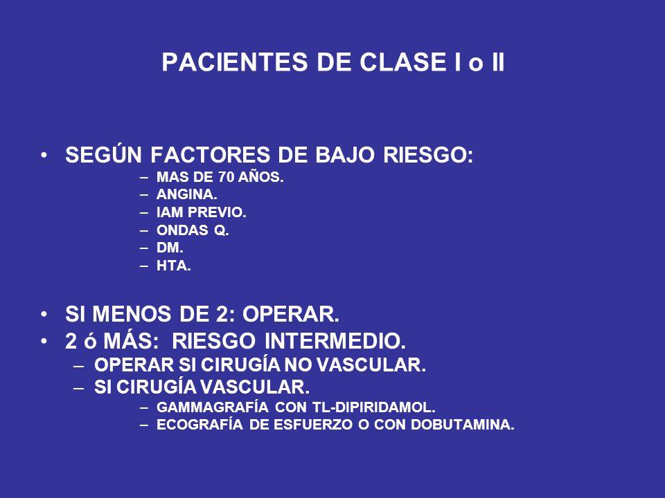 PACIENTES DE CLASE I o II