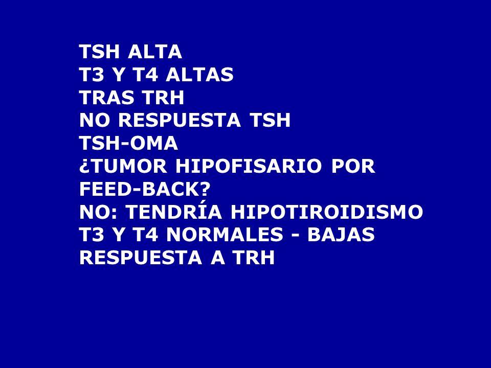 TSH ALTA T3 Y T4 ALTAS. TRAS TRH. NO RESPUESTA TSH. TSH-OMA. ¿TUMOR HIPOFISARIO POR. FEED-BACK