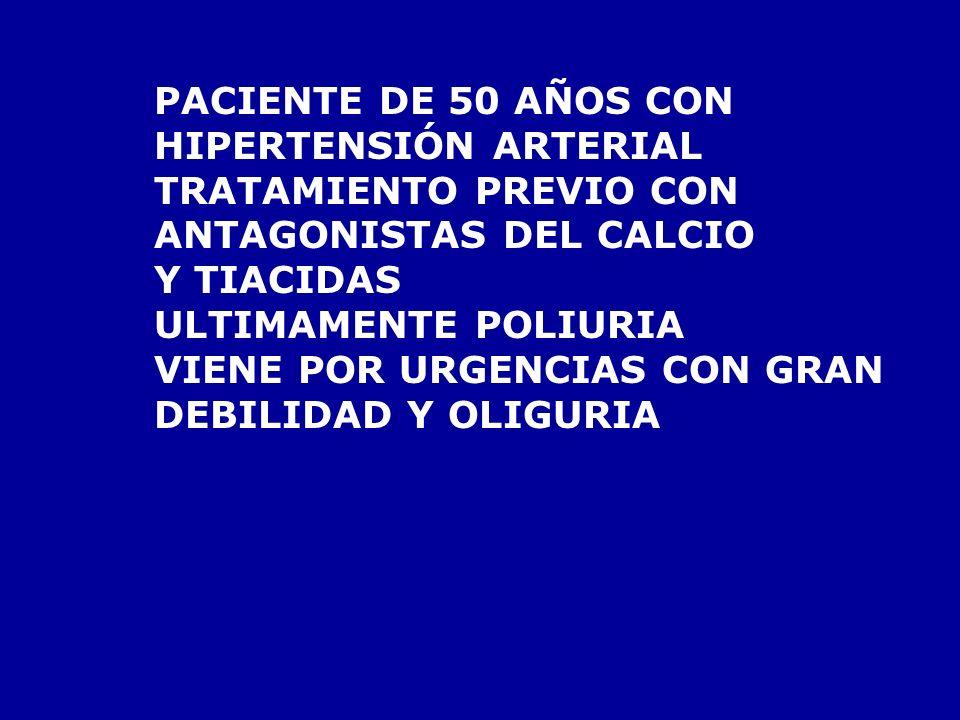 PACIENTE DE 50 AÑOS CONHIPERTENSIÓN ARTERIAL. TRATAMIENTO PREVIO CON. ANTAGONISTAS DEL CALCIO. Y TIACIDAS.