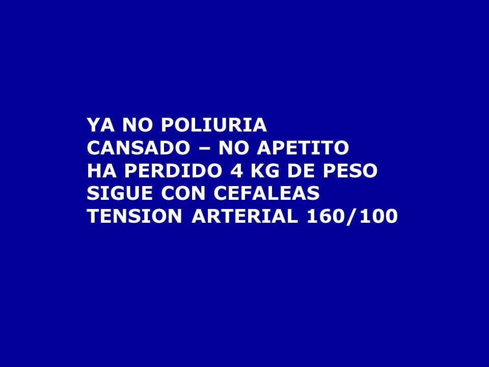 YA NO POLIURIACANSADO – NO APETITO.HA PERDIDO 4 KG DE PESO.
