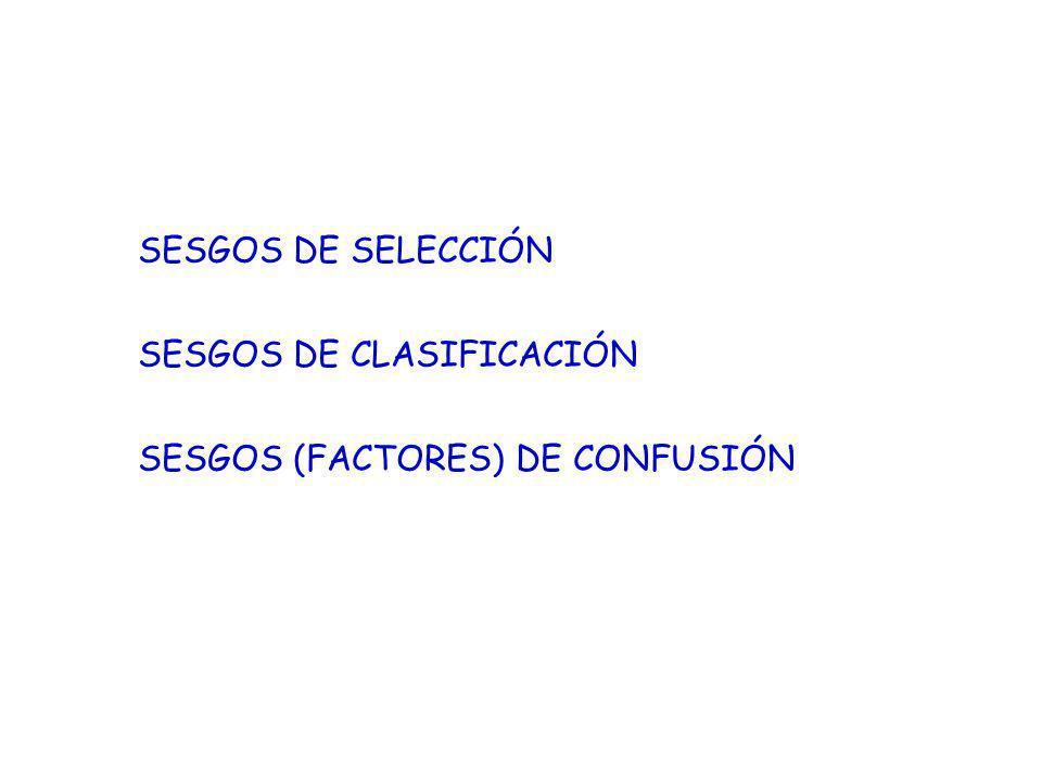 SESGOS DE SELECCIÓN SESGOS DE CLASIFICACIÓN SESGOS (FACTORES) DE CONFUSIÓN