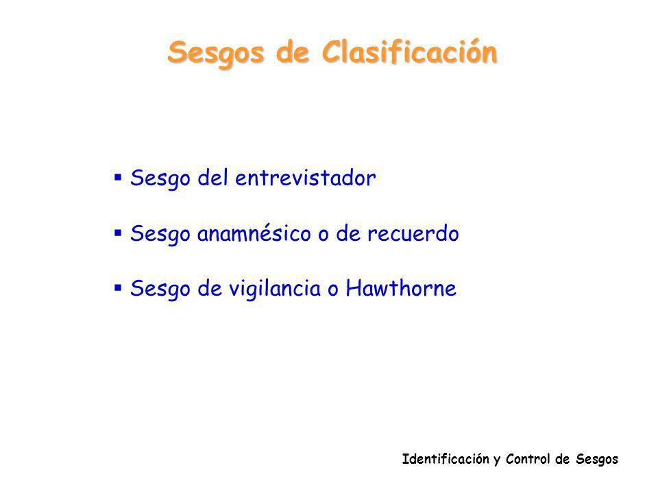 Sesgos de Clasificación Identificación y Control de Sesgos