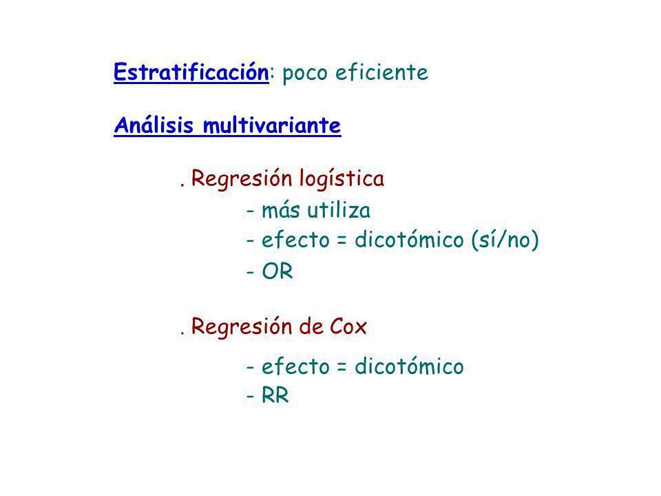 Estratificación: poco eficiente