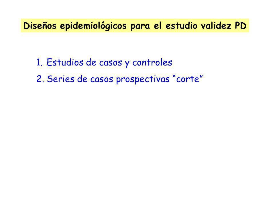 Diseños epidemiológicos para el estudio validez PD
