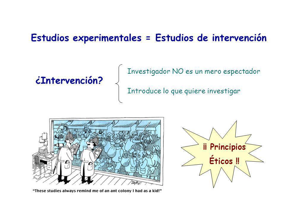 Estudios experimentales = Estudios de intervención