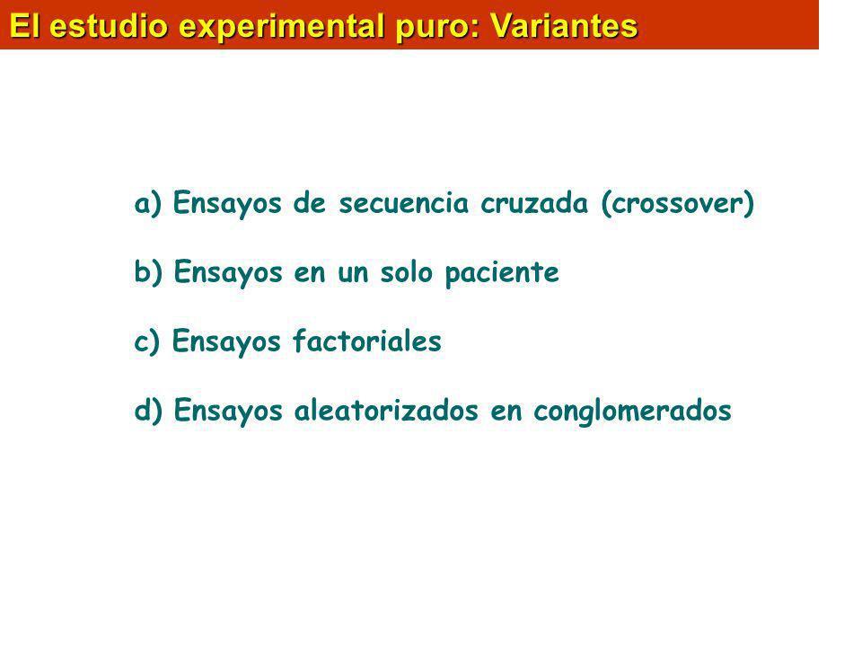 El estudio experimental puro: Variantes