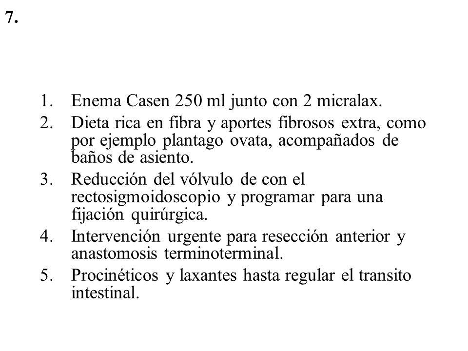 7. Enema Casen 250 ml junto con 2 micralax.