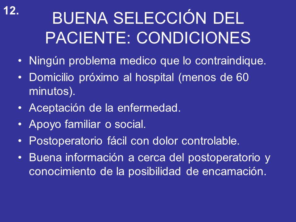 BUENA SELECCIÓN DEL PACIENTE: CONDICIONES