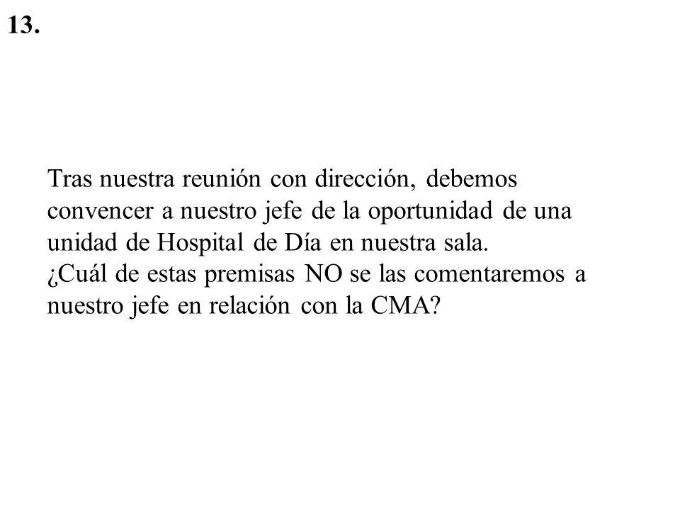 13. Tras nuestra reunión con dirección, debemos convencer a nuestro jefe de la oportunidad de una unidad de Hospital de Día en nuestra sala.