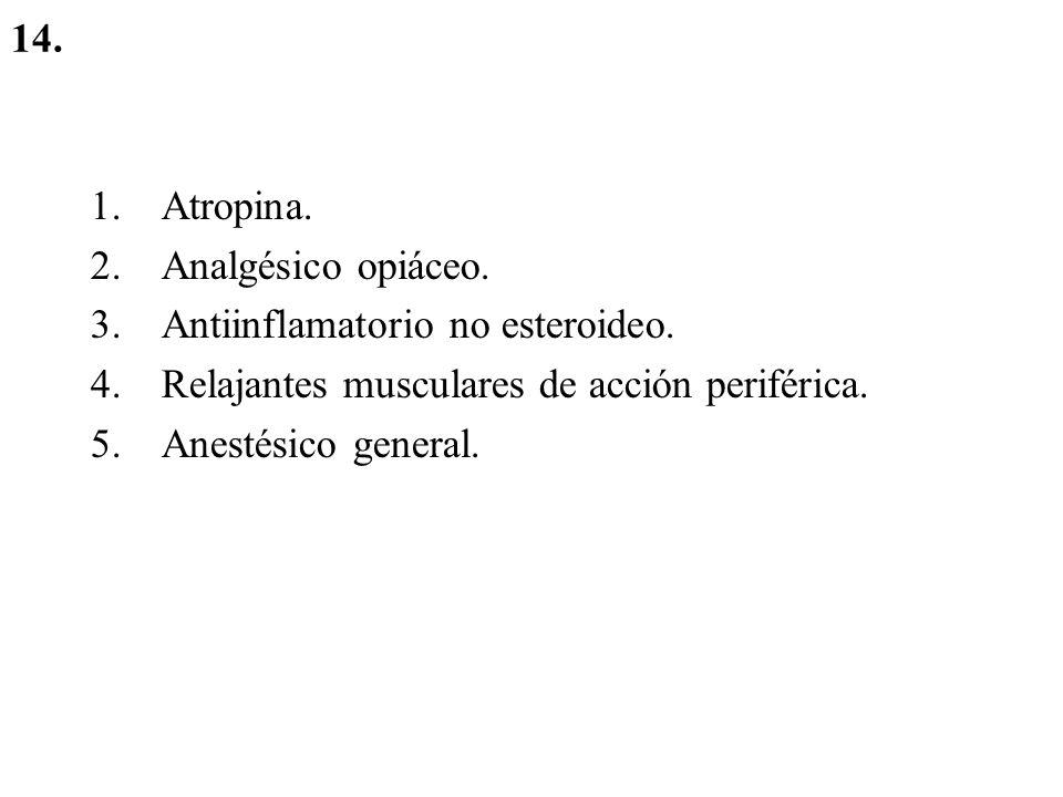 14. Atropina. Analgésico opiáceo. Antiinflamatorio no esteroideo. Relajantes musculares de acción periférica.