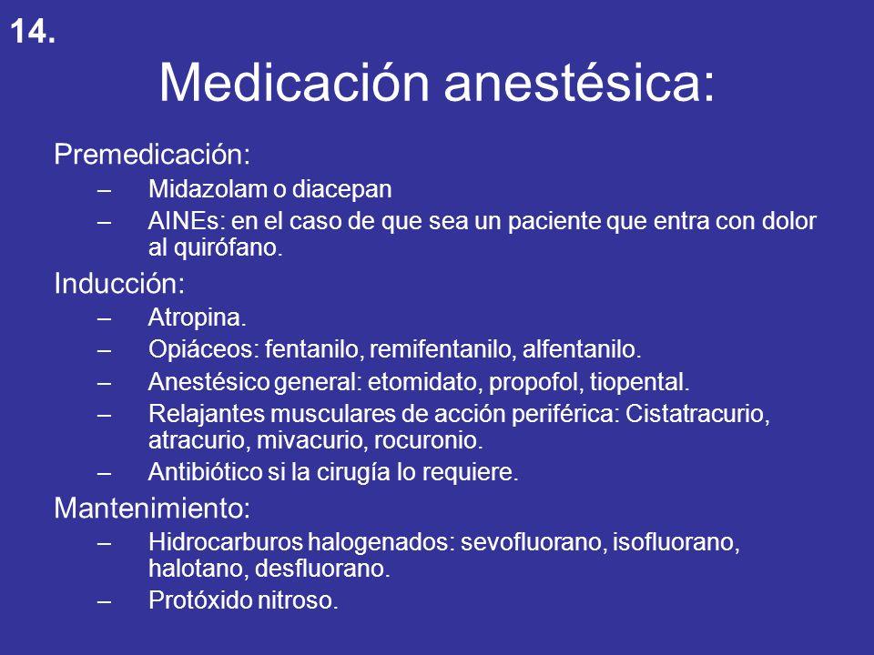 Medicación anestésica: